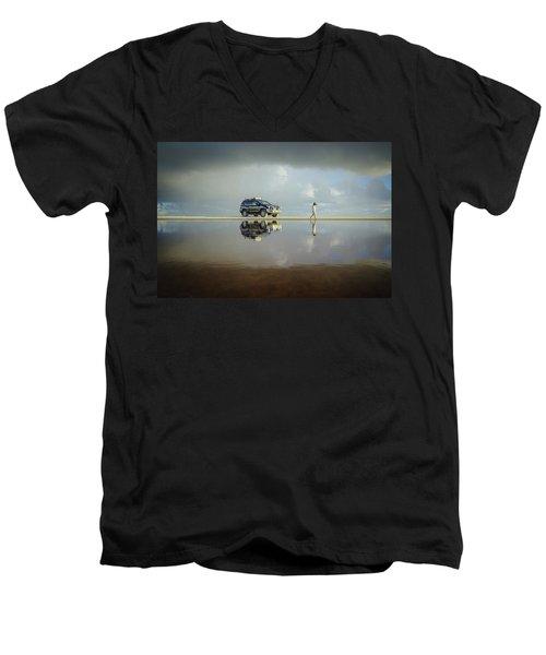 Exploring The Beach On A Rainy Day Men's V-Neck T-Shirt