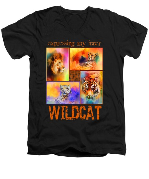 Expressing My Inner Wildcat Men's V-Neck T-Shirt by Jai Johnson