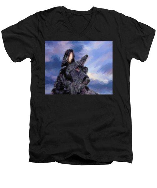 Expression Is Everything Scottish Terrier Dog Men's V-Neck T-Shirt