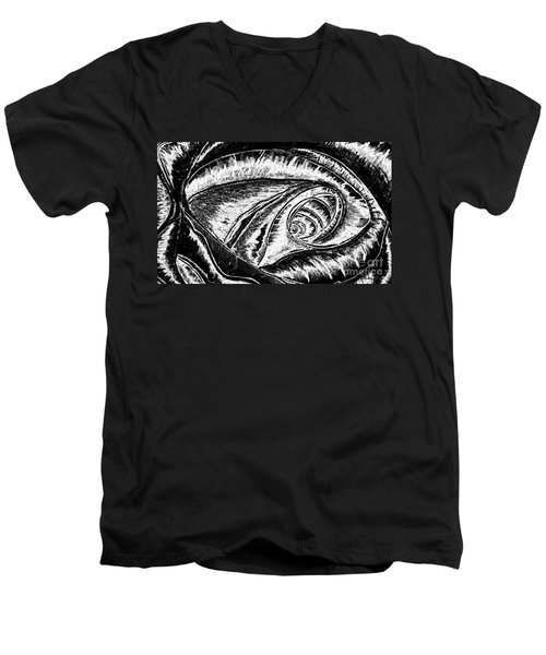 Men's V-Neck T-Shirt featuring the painting A0216a Expressive Abstract Black And White by Ricardos Creations