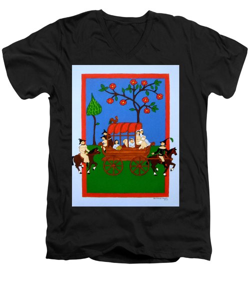 Men's V-Neck T-Shirt featuring the painting Expulsion Of The Jews For M Spain by Stephanie Moore