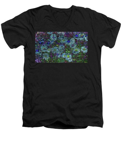 Extraordinary Blue Daisies Graffiti On A Brick Wall Men's V-Neck T-Shirt