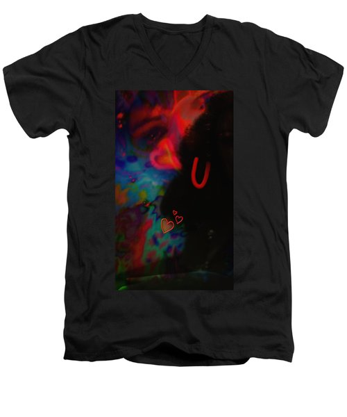 Eye Love U Men's V-Neck T-Shirt by Kevin Caudill