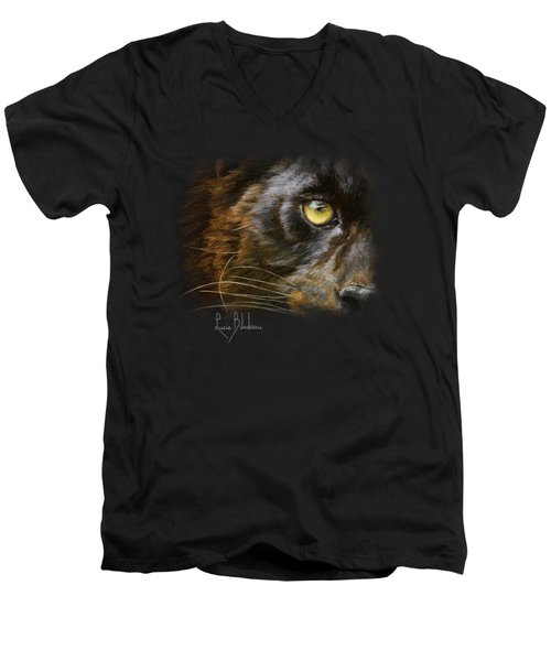 Eye Of The Panther Men's V-Neck T-Shirt by Lucie Bilodeau