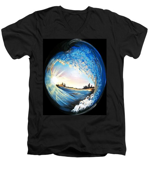 Eye Of The Wave Men's V-Neck T-Shirt by Sharon Duguay