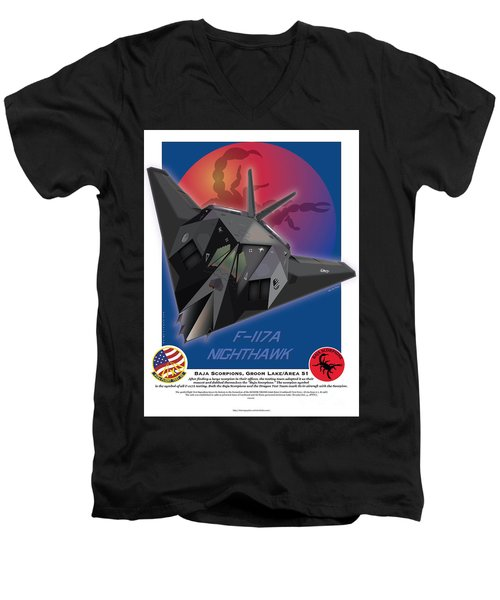 Men's V-Neck T-Shirt featuring the drawing F117a Nighthawk by Kenneth De Tore