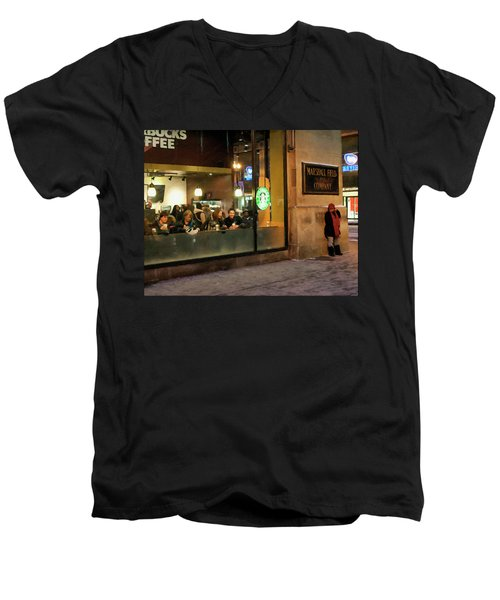 Men's V-Neck T-Shirt featuring the digital art Faces At The Coffeehouse by Chris Flees