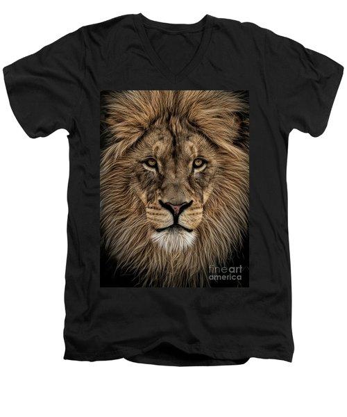 Facing Courage Men's V-Neck T-Shirt by Brad Allen Fine Art