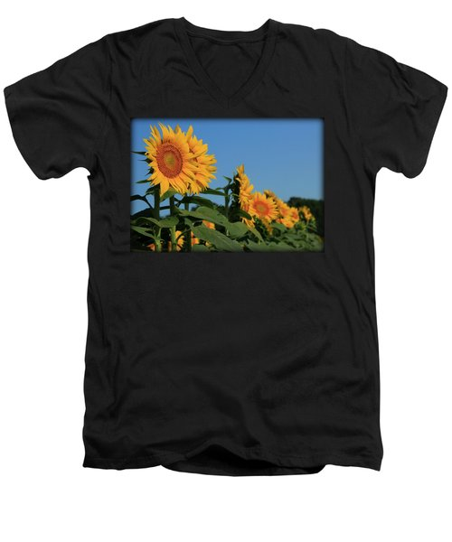 Men's V-Neck T-Shirt featuring the photograph Facing East by Chris Berry