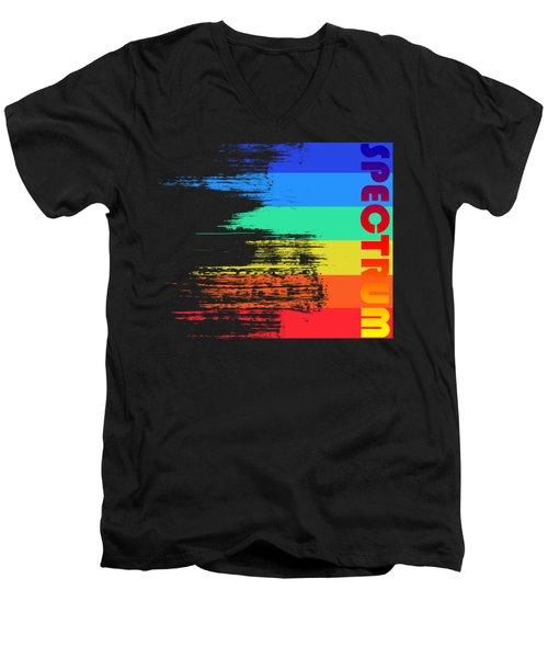 Faded Retro Pop Spectrum Colors Men's V-Neck T-Shirt by Shawn Hempel