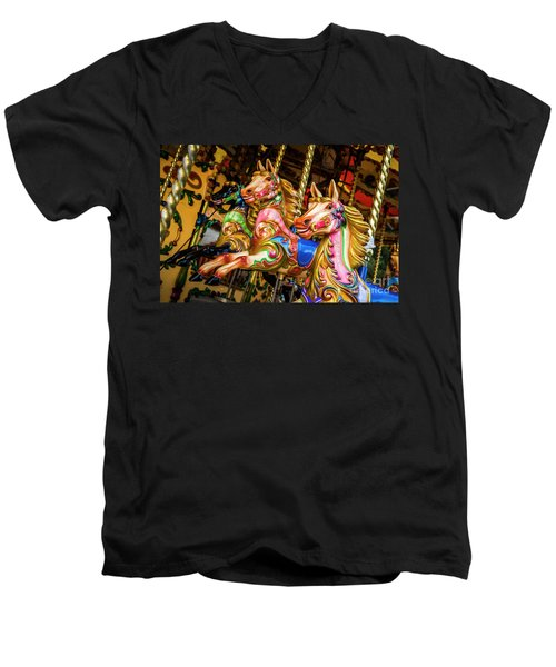 Fairground Carousel Horses Men's V-Neck T-Shirt