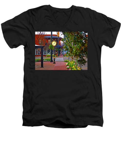 Fairhope Ave With Clock Down Section Street Men's V-Neck T-Shirt