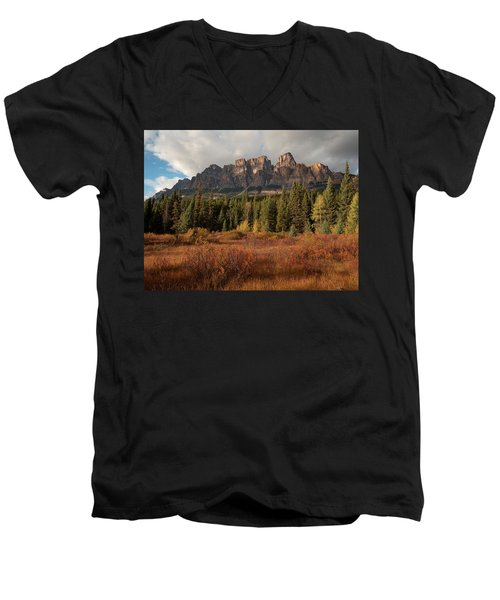 Fall At Castle Mountain Men's V-Neck T-Shirt