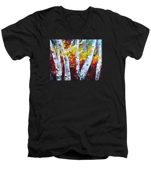 Fall Birch Trees Men's V-Neck T-Shirt