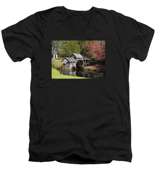 Fall Colors At Mabry Mill Blue Ridge Parkway Men's V-Neck T-Shirt by Nature Scapes Fine Art