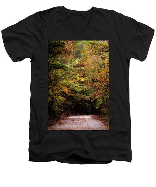 Men's V-Neck T-Shirt featuring the photograph Fall Colors On The Trail by Shelby Young