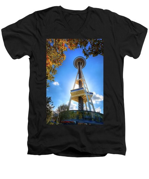 Fall Day At The Space Needle Men's V-Neck T-Shirt by David Patterson