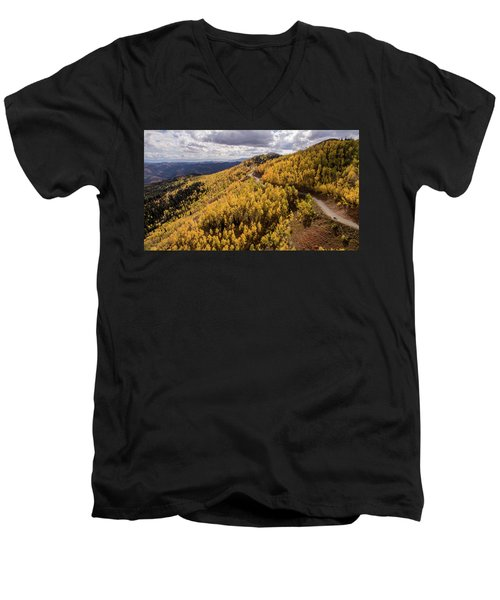 Men's V-Neck T-Shirt featuring the photograph Fall Drive by Wesley Aston