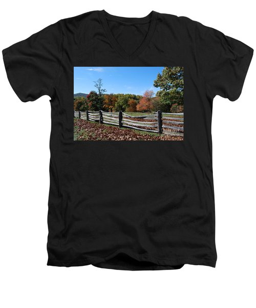 Fall Fence Men's V-Neck T-Shirt by Eric Liller