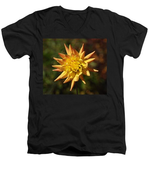 Men's V-Neck T-Shirt featuring the photograph Fall Flower by Richard Bryce and Family