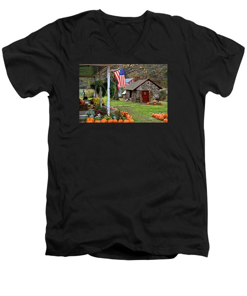 Men's V-Neck T-Shirt featuring the photograph Fall Harvest - Rural America by DJ Florek