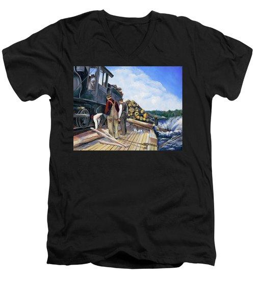 Fall Lake Train Men's V-Neck T-Shirt