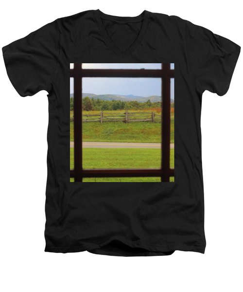 Fall Mountains Through The Window  Men's V-Neck T-Shirt