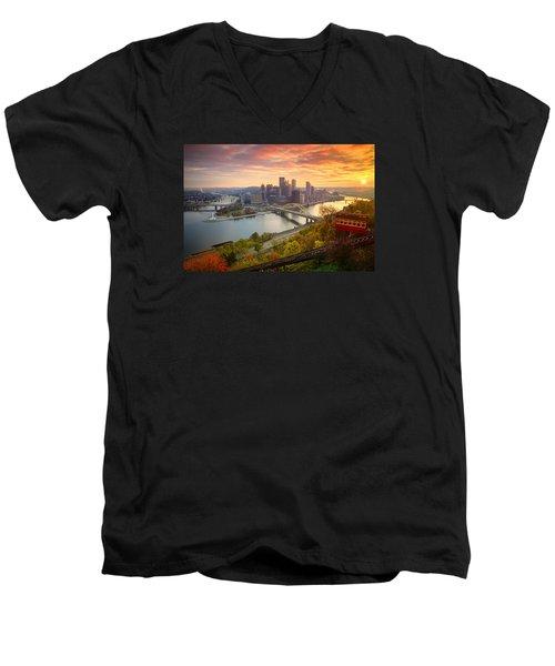 Fall Pittsburgh Skyline  Men's V-Neck T-Shirt by Emmanuel Panagiotakis