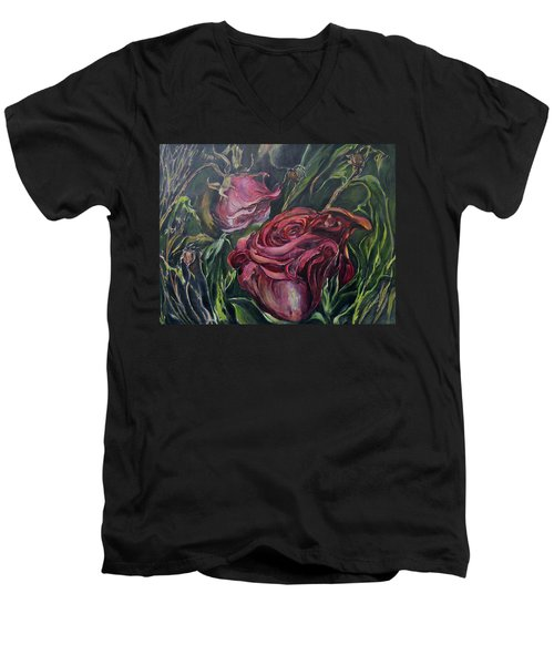 Fall Roses Men's V-Neck T-Shirt by Nadine Dennis