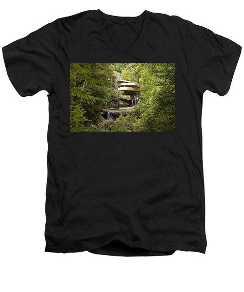 Falling Water Men's V-Neck T-Shirt by Carol Highsmith