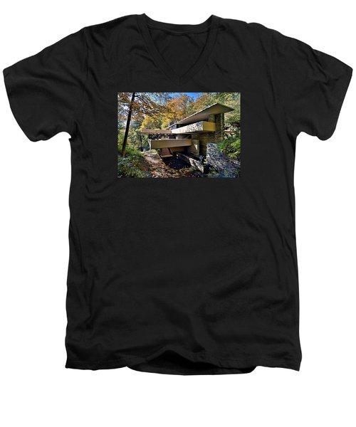 Fallingwater Pennsylvania - Frank Lloyd Wright Men's V-Neck T-Shirt by Brendan Reals