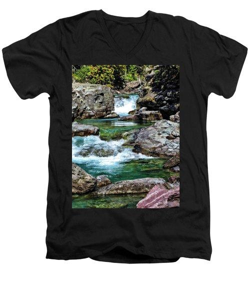 Falls Above Lake Mc Donald Men's V-Neck T-Shirt