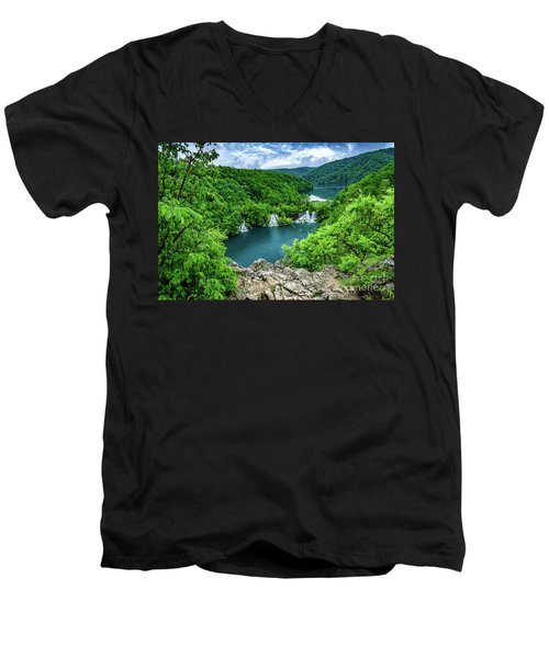 Falls From Above - Plitvice Lakes National Park, Croatia Men's V-Neck T-Shirt