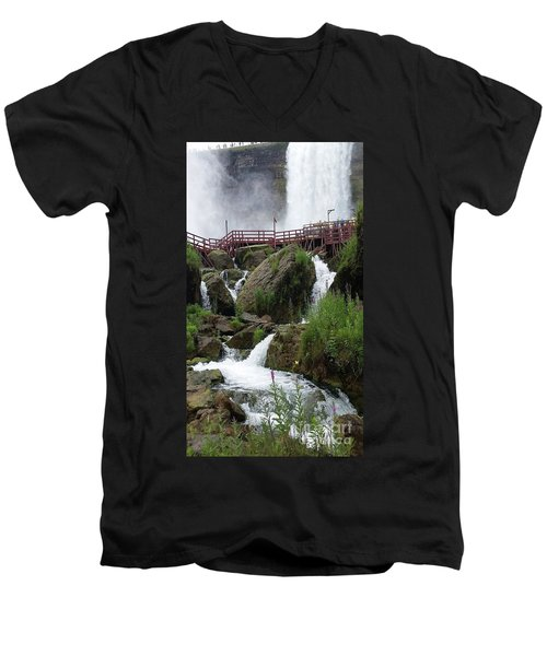 Falls Men's V-Neck T-Shirt by Raymond Earley