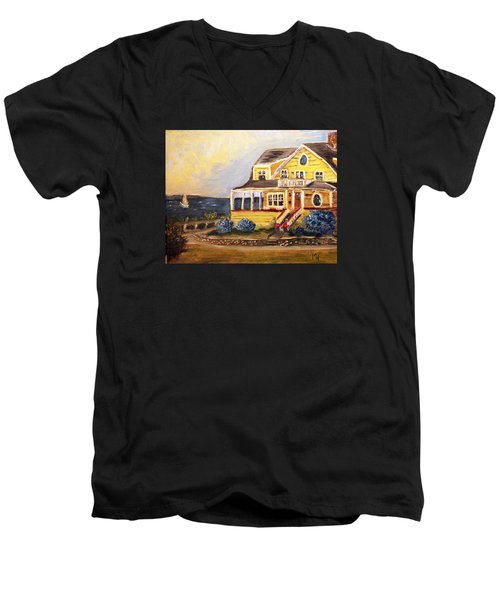Falmouth Heights View Of Vineyard  Men's V-Neck T-Shirt