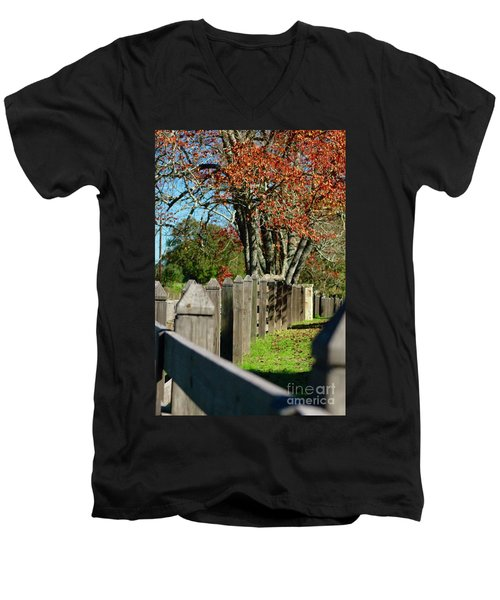Men's V-Neck T-Shirt featuring the photograph Familiar Fall by Lori Mellen-Pagliaro