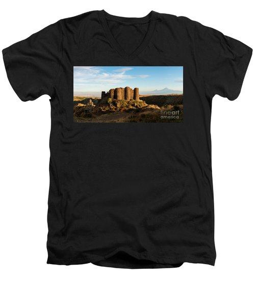Famous Amberd Fortress With Mount Ararat At Back, Armenia Men's V-Neck T-Shirt by Gurgen Bakhshetsyan
