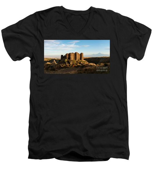 Famous Amberd Fortress With Mount Ararat At Back, Armenia Men's V-Neck T-Shirt