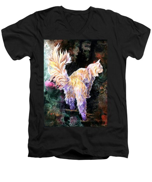 Men's V-Neck T-Shirt featuring the painting Fancy Britches by Sherry Shipley