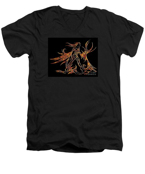 Men's V-Neck T-Shirt featuring the drawing Fancy Flight On Fire by Jamie Lynn