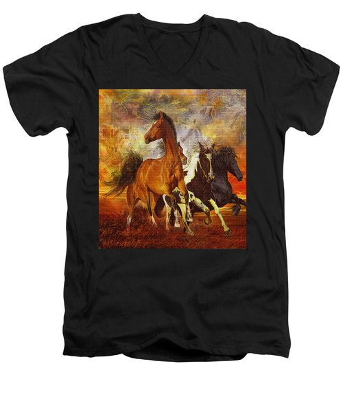 Men's V-Neck T-Shirt featuring the painting Fantasy Horse Visions by Steve Roberts