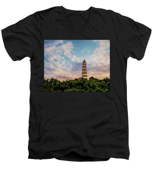 Far Distant Pagoda Men's V-Neck T-Shirt