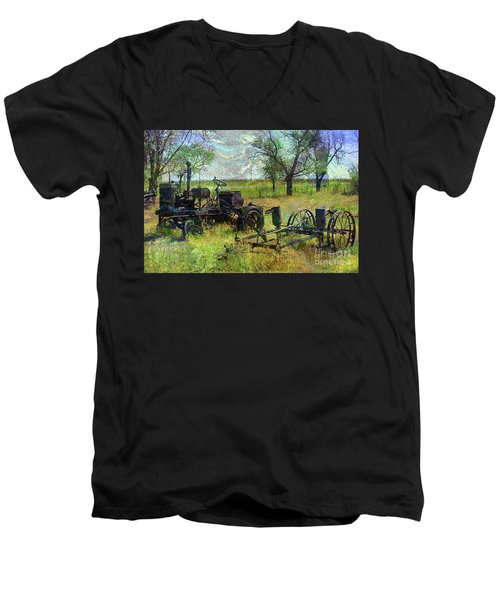 Farm Equipment Men's V-Neck T-Shirt by Deborah Nakano