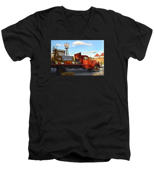 Farm With Red Truck In Fall  Men's V-Neck T-Shirt
