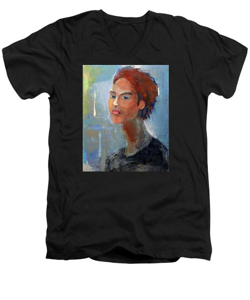 Men's V-Neck T-Shirt featuring the painting Fascination by Becky Kim