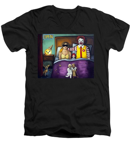 Fast Food Nightmare Men's V-Neck T-Shirt by Leah Saulnier The Painting Maniac
