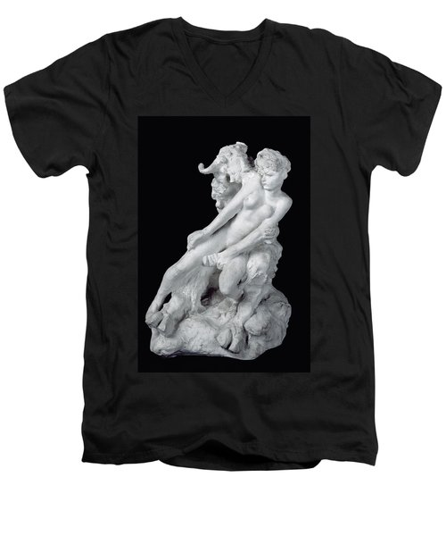 Faun And Nymph Men's V-Neck T-Shirt by Auguste Rodin