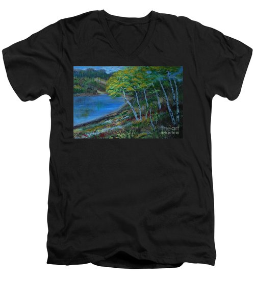 Men's V-Neck T-Shirt featuring the painting Favorite Fishin' Hole by Leslie Allen