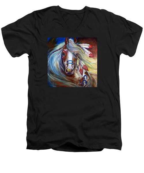 Fearless Indian War Horse Men's V-Neck T-Shirt by Marcia Baldwin