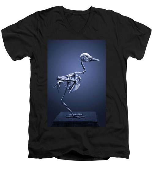 Men's V-Neck T-Shirt featuring the photograph Featherless In Blue by Joseph Westrupp